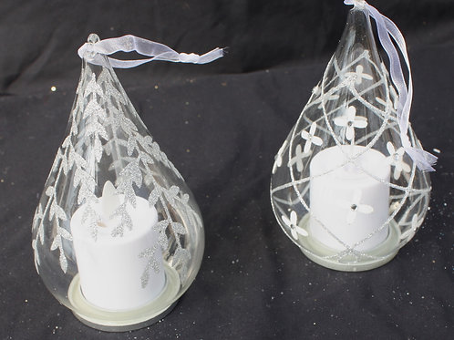 Glass Teardrop LED candle ornaments - Silver designs