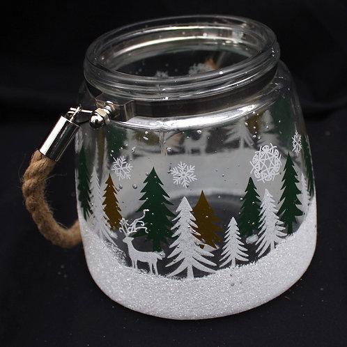 Rope Handle Jar - Painted Winter Tree Scene