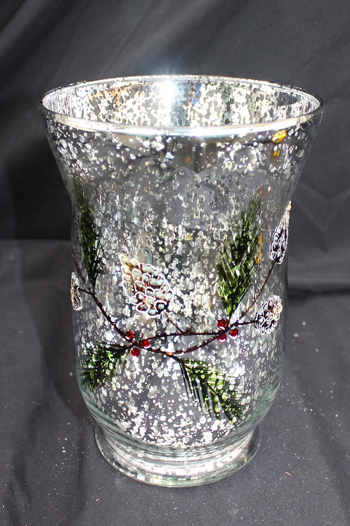 Fluted Sparkle Vase - Painted Branch and Pinecone