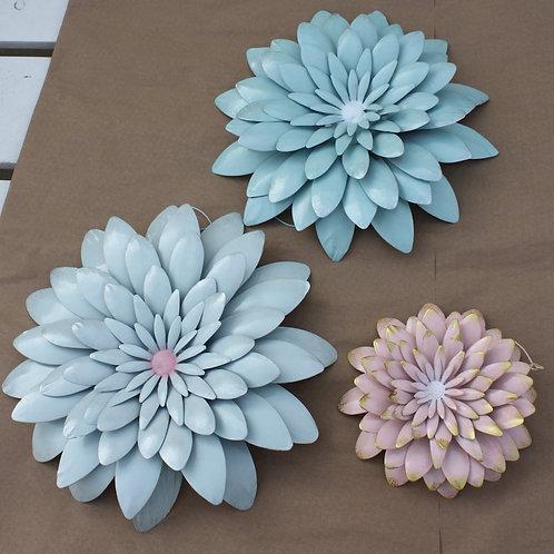Set of Three Metal Flowers