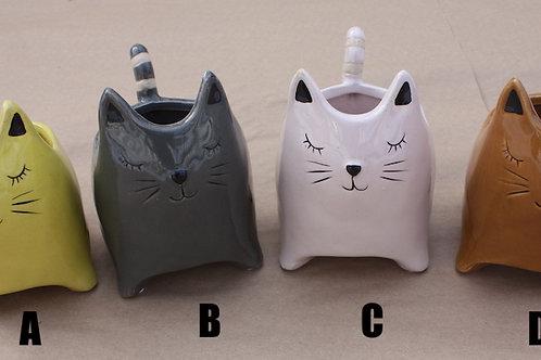 Ceramic Cat planter - large
