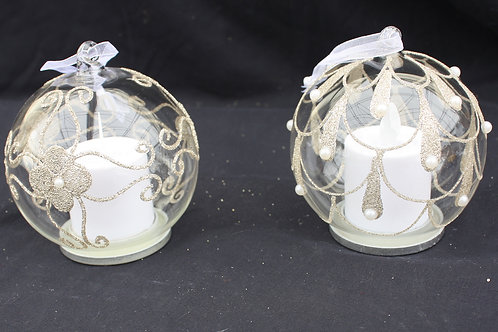 Glass with Pearl LED candle ornaments