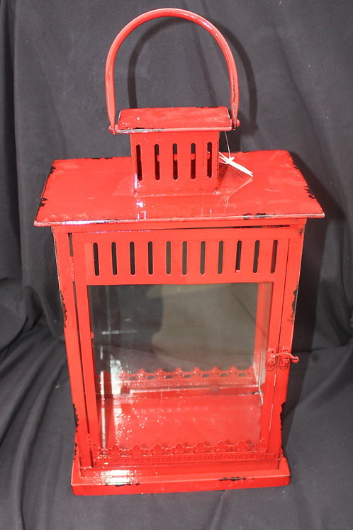 Red Boxy Metal Candle Lantern - small