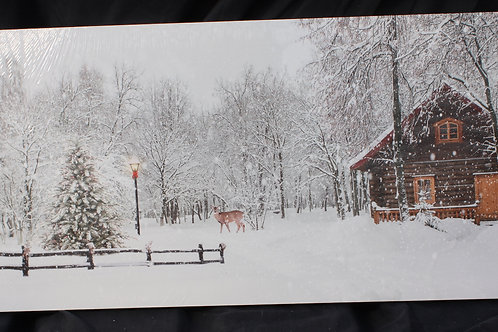 Log Cabin and Deer LED canvas
