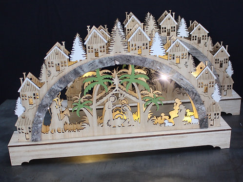 3D Wood Cut Out Nativity Scene with LED