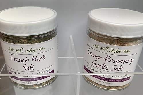 s.a.l.t. sisters Infused Sea Salts - glass spice jar