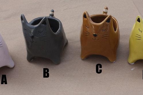 Ceramic Cat planter - small
