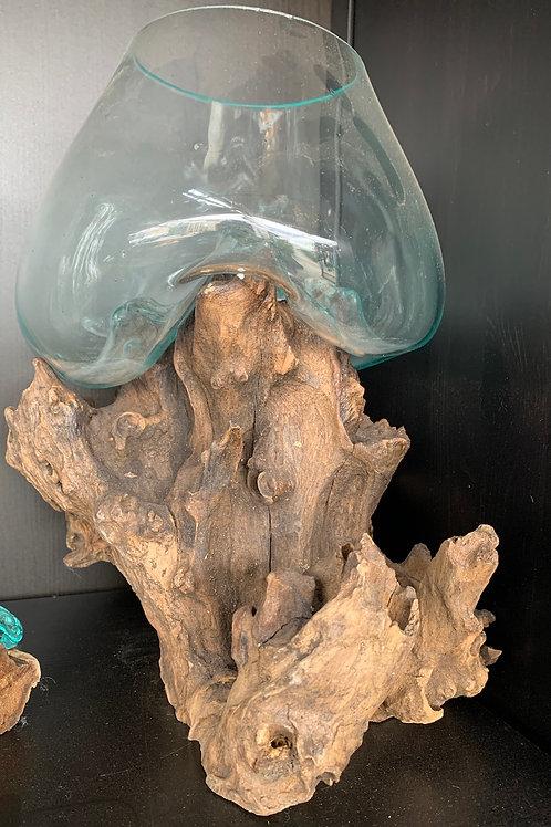 Molten Glass Terrarium on Driftwood