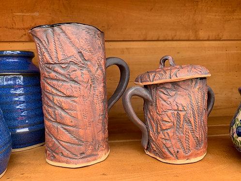 Handmade Pottery - Cream and Sugar - Woodsy