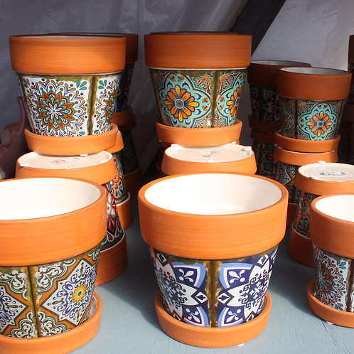 Terracotta coloured pot with mosaic body - 3.5 inch