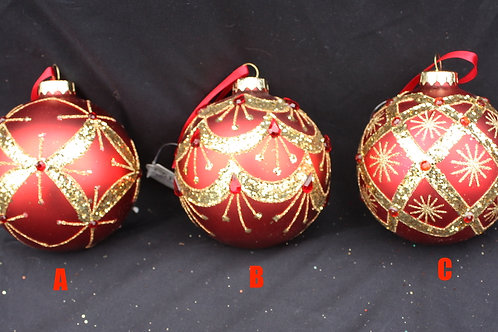 Red and Gold Christmas Balls with Jewels
