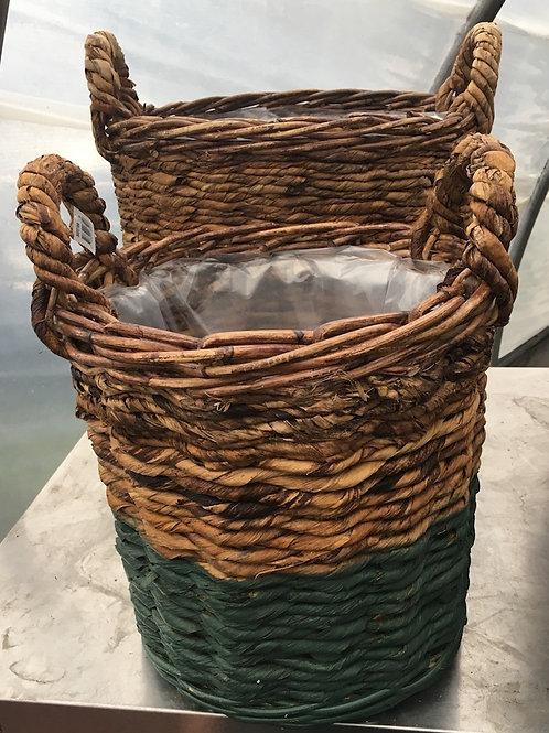 Two-tone Wicker Basket with Handles - Medium