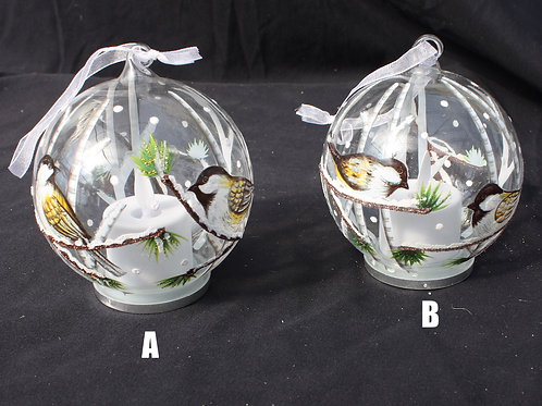 Glass LED candle ornaments - Chickadees