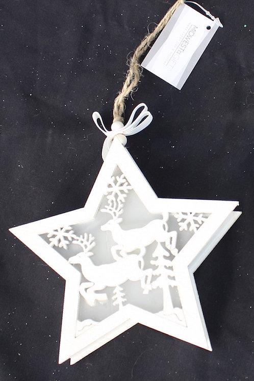 Wooden Deer Stars - LED ornament