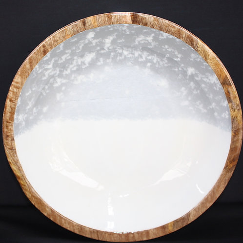 Wooden Bowl with Enamel Facing - 11.5-inch