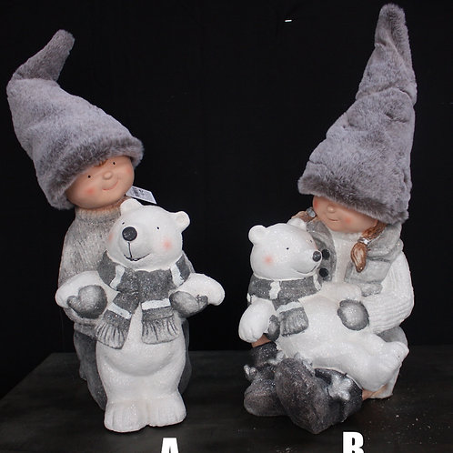 Faux Fur Clad Figurines with Polar Bears