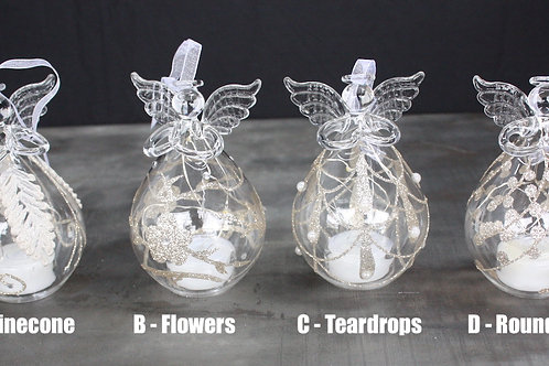 Glass LED Angel candle ornaments - 5-inch size Gold designs