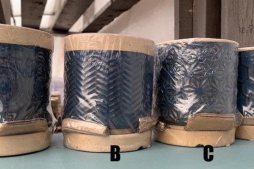 Navy Blue Raised Pattern pot - small