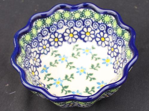 Polish Pottery - 4-inch scalloped edge bowl