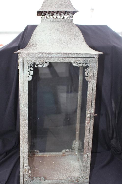 Patinaed Metal Candle Lantern - large