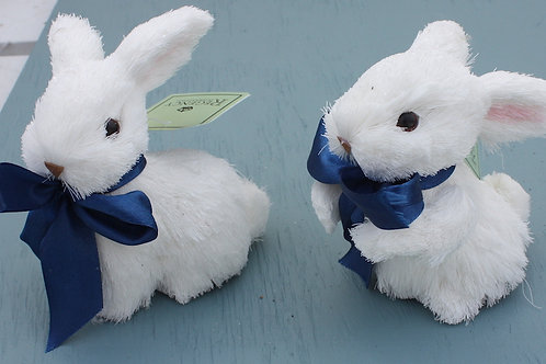 White Bunnies with Blue Bows