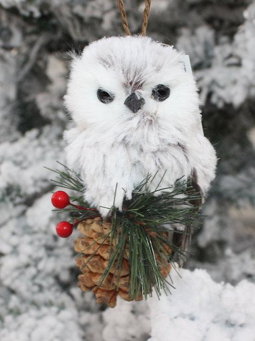 Snow Owl on Pine Cone ornament