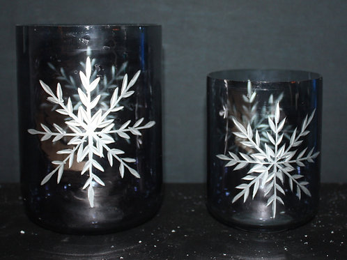 Smoky Candle Holder with Snowflake design - Large