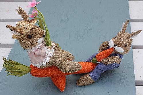 Denim Bunnies on Carrot Seesaw