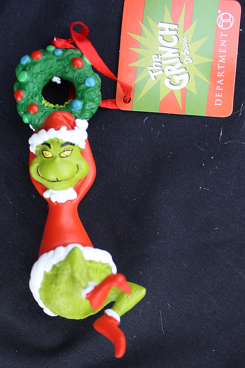 Grinch Hanging on Wreath tree ornament