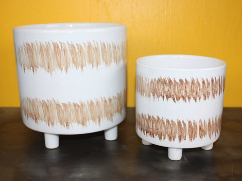 White and brown patterned pot - small
