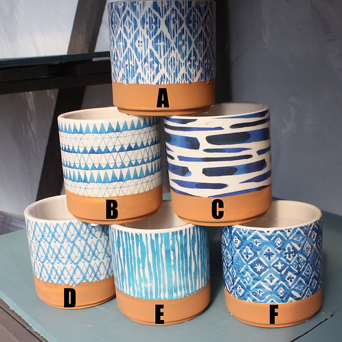 Blue Patterned pots - small