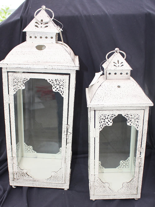 White Antiqued Metal Candle Lantern - small