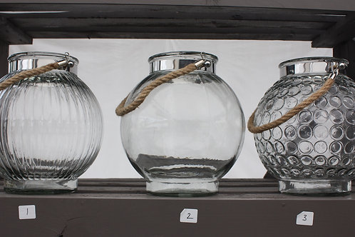 Glass Lantern with Rope Handle - Round