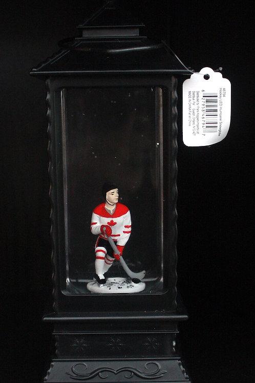 Illuminated Snowglobe-Style Lantern - Hockey Player