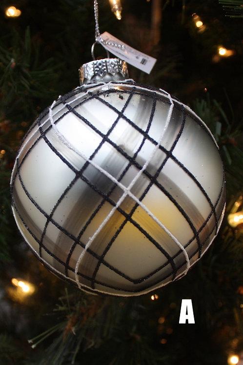 Black, White and Silver Swirl glass ornaments
