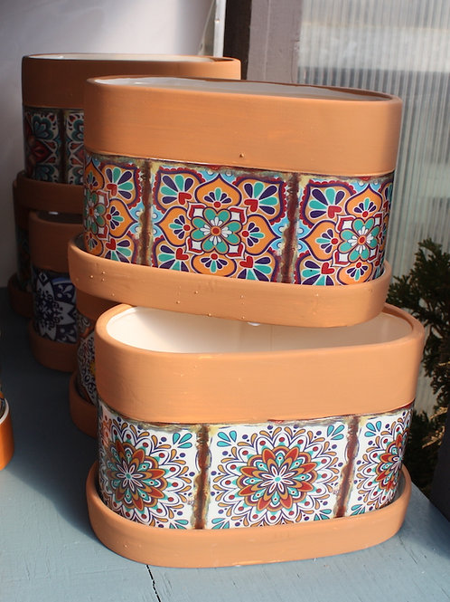 Terracotta coloured pot with mosaic body - Oblong
