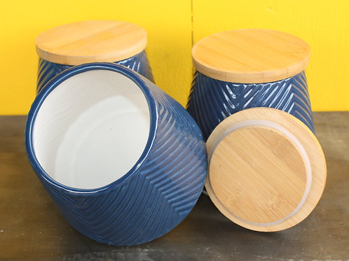 Blue tapered pot with wooden lid