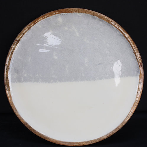 Round Wooden Plate with Enamel Facing