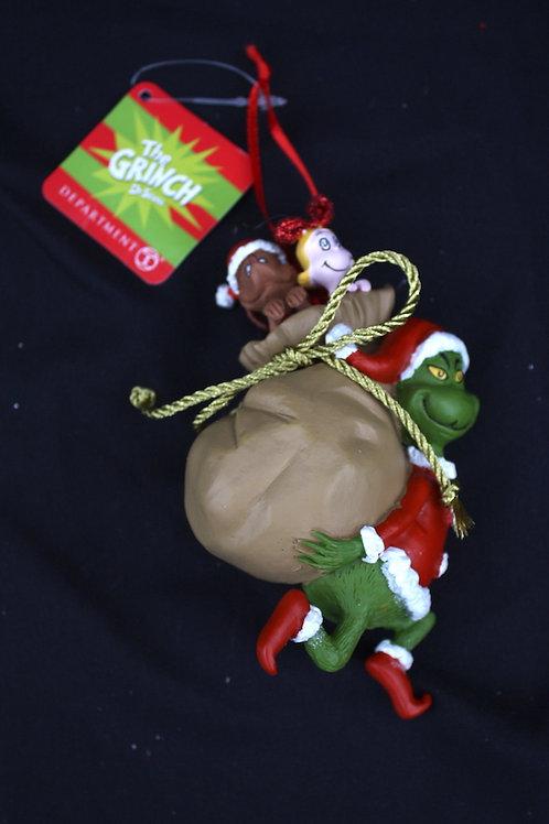 Grinch - Santa Claus Stowaways tree ornament
