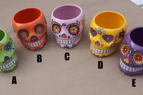 Ceramic Skull planter - large