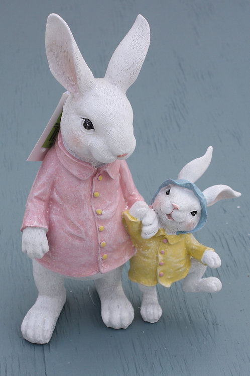 Big and Small Rabbit in Spring Coats - Ceramic