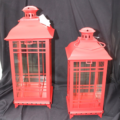 Red Metal Candle Lantern - small
