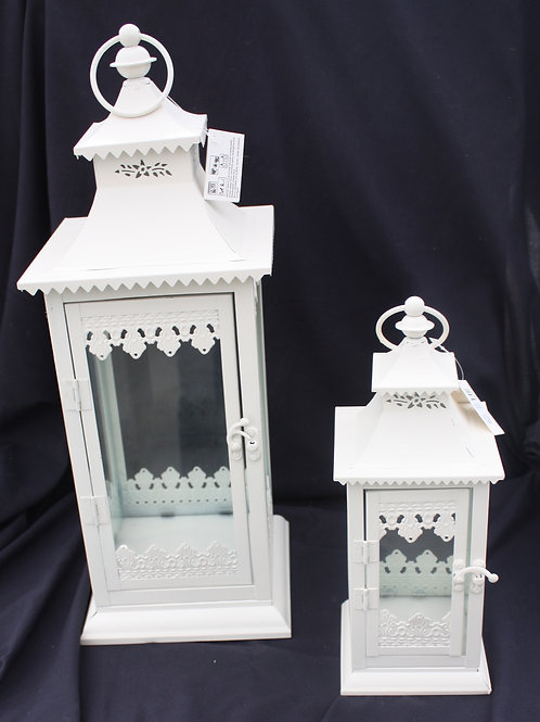 White Metal Candle Lantern - medium