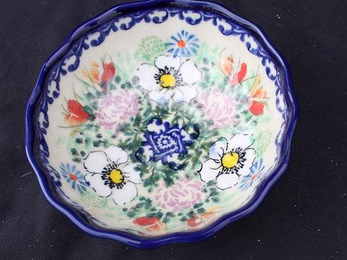 Polish Pottery - Scalloped Edge Floral Bowl