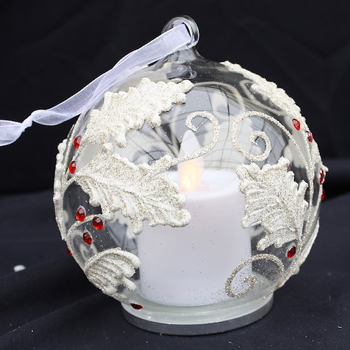 Glass LED candle ornament - Silver Holly Leaves with Berries