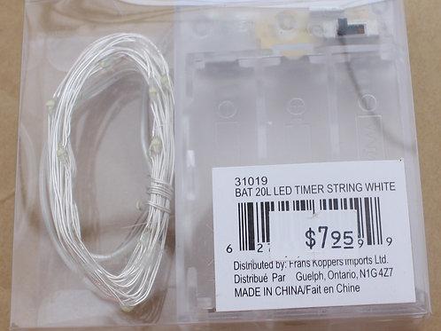 20-light LED String White Lights