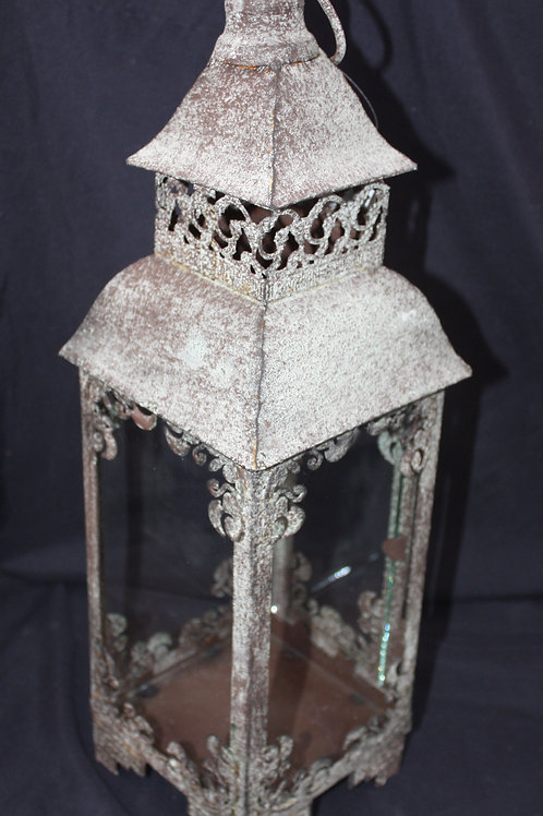Patinaed Metal Candle Lantern - small