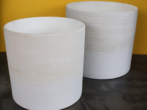 Cream ceramic pot with mosaic imprint - large