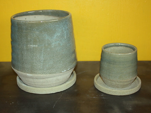 Sage Green and Sand tapered pot - large