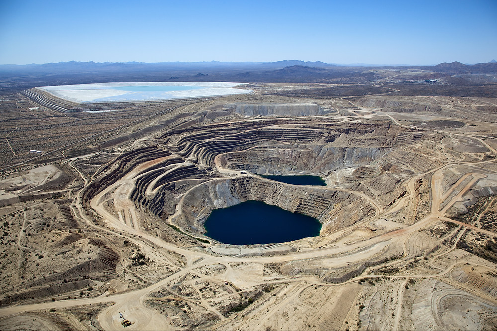 An example of an open pit copper mine with large tailings facilities.